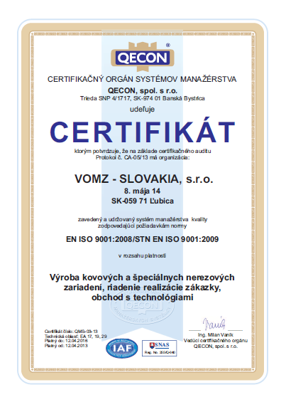 ISO Certifikát Vomz Slovakia s.r.o.
